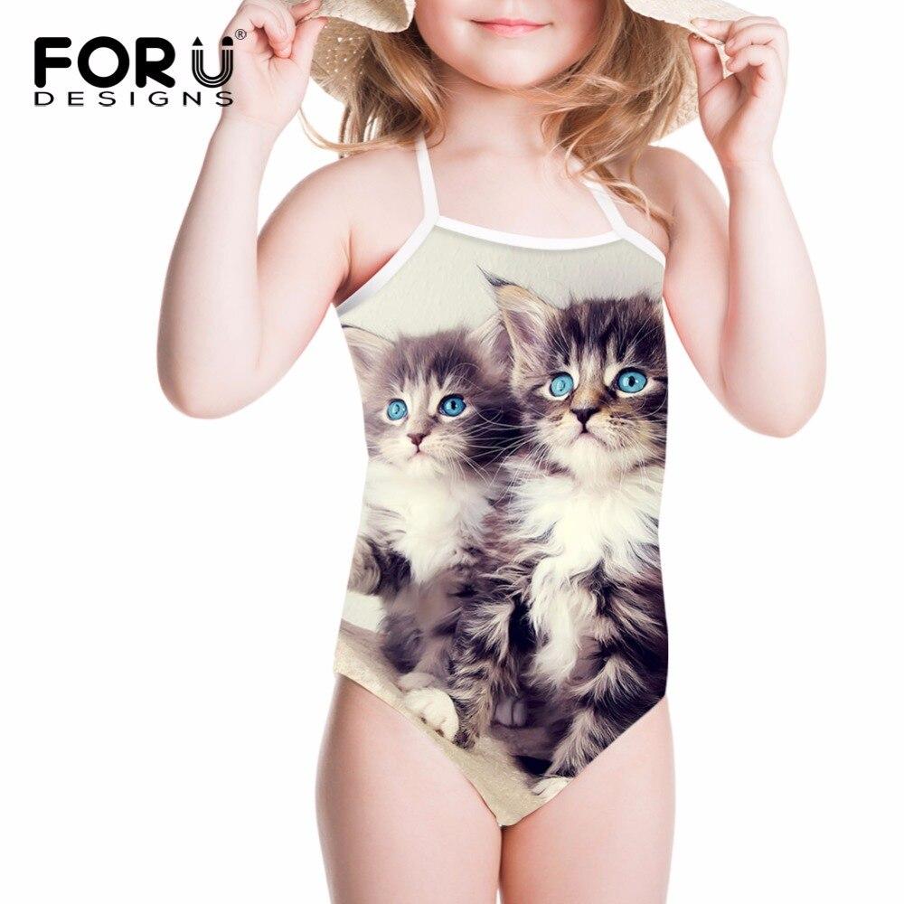FORUDESIGNS Swimsuits One Piece Children Swimwear Cute Siamese Cat Printing Kids Girls Bathing Suit Baby Bikini Swimming Suits