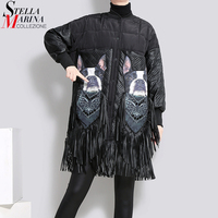 2018 Winter Women Oversize Long Black Parka Jacket PU Fringes Stand Collar Printed Female Thick Jacket Coat manteau femme 3001