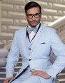 Nova chegada dois luz do botão azul noivo smoking padrinhos ternos Prom noivo de casamento dos homens ( Jacket + Pants + Vest + Tie ) NO : 283