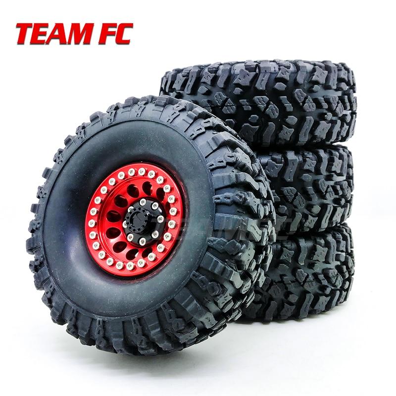 4PCS Metal Red Beadlock 1.9'' Wheel Rim & 108mm/120mm Tires For 1/10 RC Rock Crawler Axial SCX10 90046 D90 D110 S319