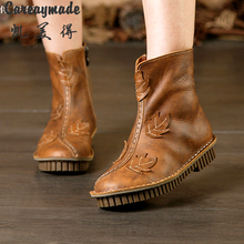 The winter ankle boots 2016 new hot sale handmade Top layer Genuine leather boots,the retro art mori girl boots,2 colors