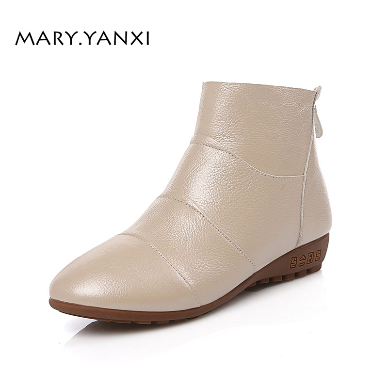 Winter Genuine Leather Women Shoes Boots Zip Round Toe Wedges Low Heels Solid Fashion Leisure Big Size Lazy Shioes Fleeces big size 34 42 high quality genuine leather leisure low heels ankle boots fashion cowhide round toe platform women boots