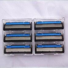 6 pcs/lot 3 Razor Blades For Men Trimmer Shaving Razor Men 3 Blade Replacement Shaver Head Cassette Blue Shaving Face Knife