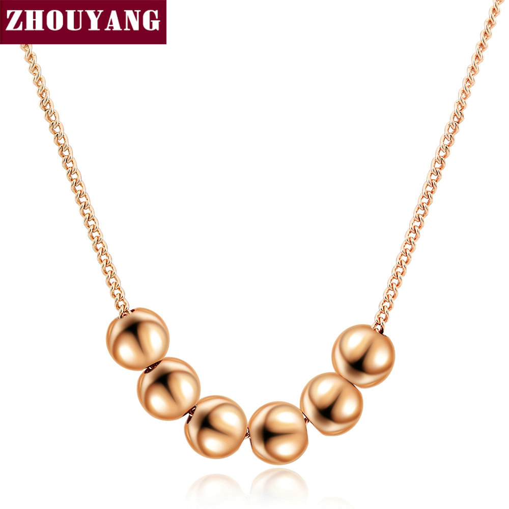 Small Bead Ball Rose Gold Color Pendant Necklace Jewelry CZ Crystal Wholesale Wedding Gift For Women Top Quality ZYN267
