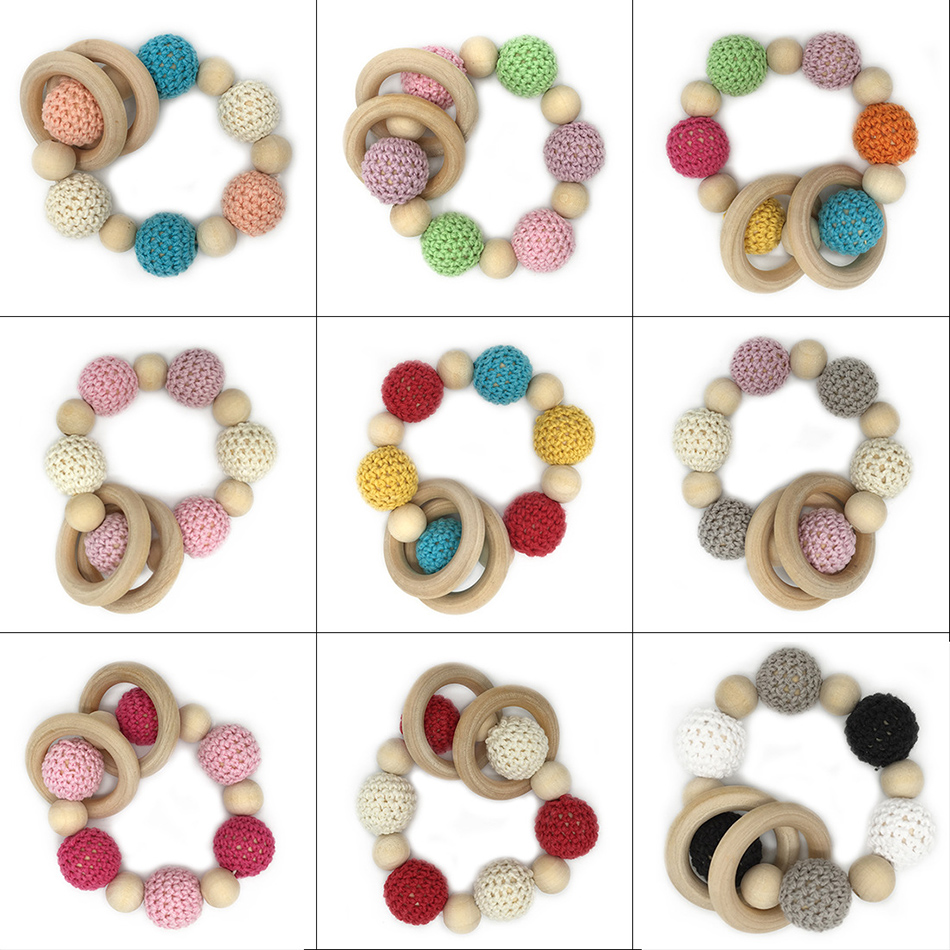 Wooden Teething Bracelets Can Chew Crochet Beads Baby Rattle Wooden Beads Baby Toys Organic Rattle Wooden Bracelets