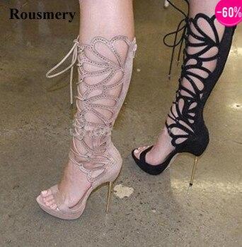 Las mujeres encantador diseño de punta abierta de encaje de diamantes de imitación hasta la rodilla botas de gladiador sandalia con tacón de aguja botas de vestir