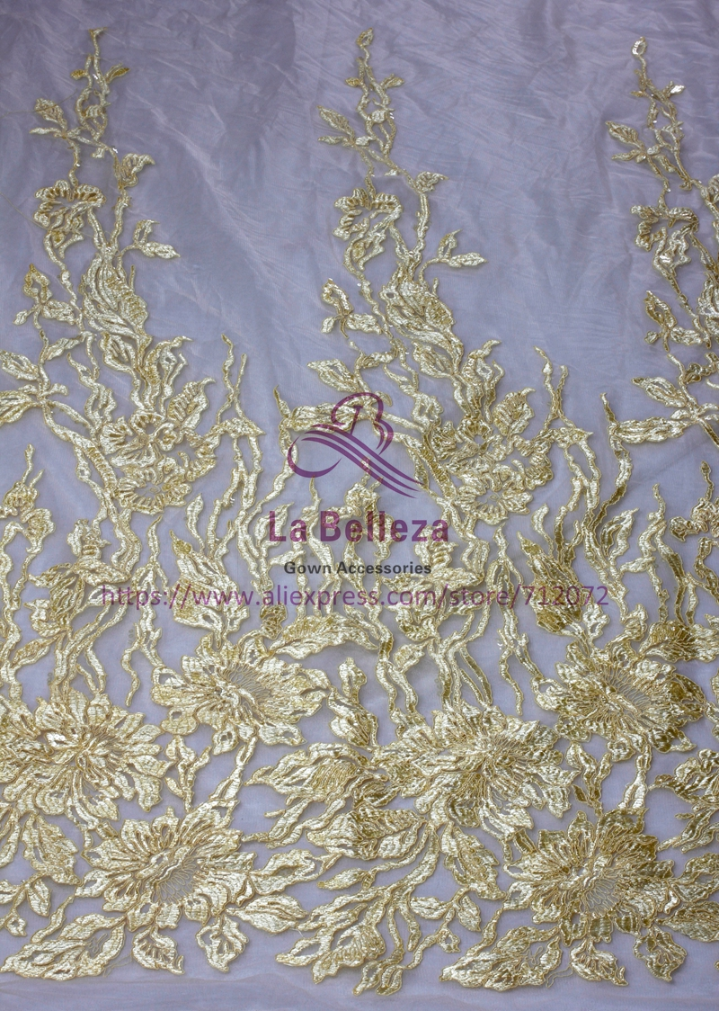 New Fashion Style Polyester Sequins On Mesh Embroidered Off Whtie