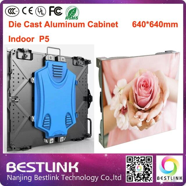 P5 крытый светодиодные литой алюминиевый корпус: 640*640 мм с p5 rgb led дисплей модуль внутренний светодиодный экран видеостены реклама доска