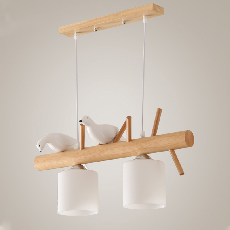 Image 2 - Decorative Nordic Pendant Lights Glass Hanging Lamp Dining Kids Room E27 2/3 Heads Creative Birds Pendant Lamp Wood Led Hanglamp-in Pendant Lights from Lights & Lighting
