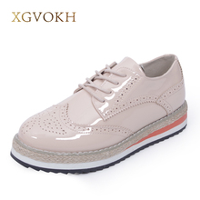 Фотография XGVOKH Brand Patent Leather Fashion Women Shoes Bullock Lace-up Female Flat Platform Shoes Height Increasing casual Flats