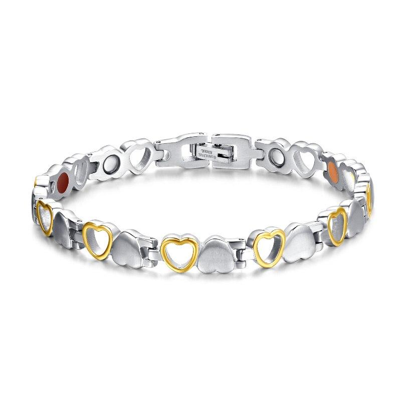 Fashion Gesunde Magnetische Armband für Frau Herz Design 316L Edelstahl Gesundheit Care Elements Armband Hand Kette Schmuck
