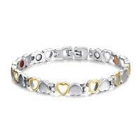Fashion Healthy Magnetic Bracelet Men Woman Heart Design 316L Stainless Steel Health Care Elements Bracelet Hand