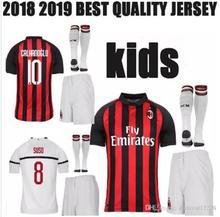 49fc2a98d AAA+ quality Kid's 2018 2019 AC Milan Soccer Jersey 18 19 ANDRE SILVA  CALHANOGLU SUSO BONUCCI