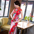 Women Red Chinese Traditional Dress  Wedding Qipao Dress Chinese Long Female National Cheongsam Party Dress CostumeQP66