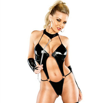 Sexy Women wetlook PU Leather Lingerie Bodysuits Erotic Leotard Costumes Rubber Flexible Latex Catsuit Catwomen Porno Nightwear цена 2017