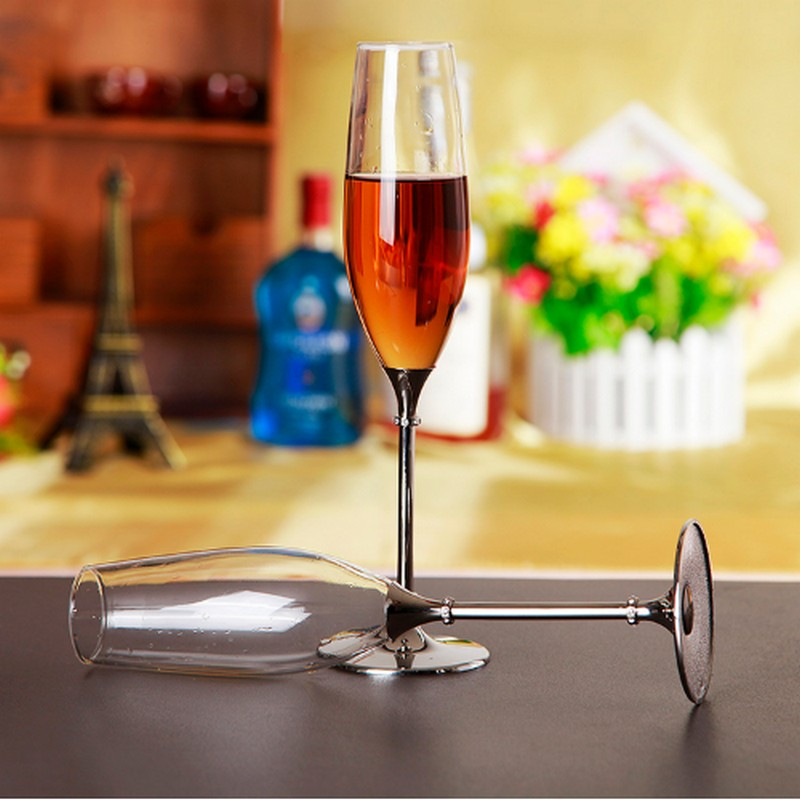 Wedding Gift Champagne Flutes: 2pcs Silver Color Crystal Champagne Glasses Sparkle