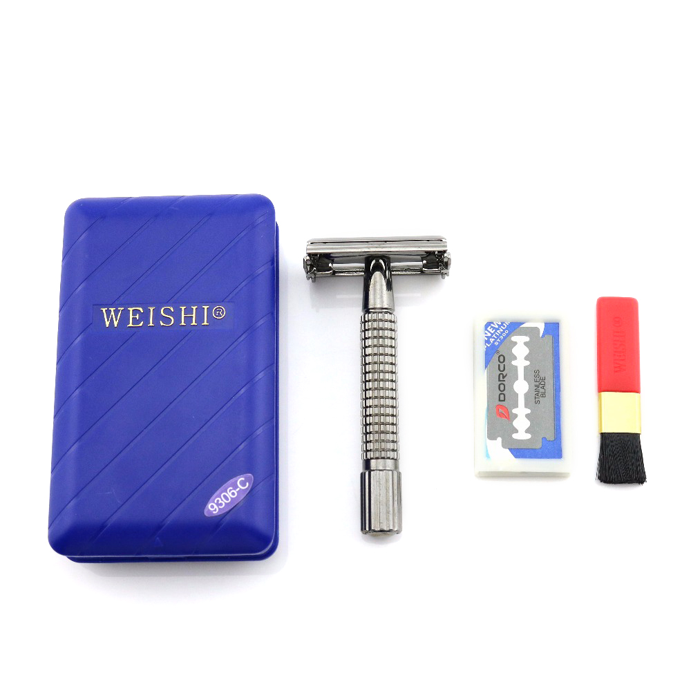 WEISHI Butterfly Safety Razor Double Edge Shaving Razor 9306-C Gun color Excellent quality 100PCS/LOT NEW