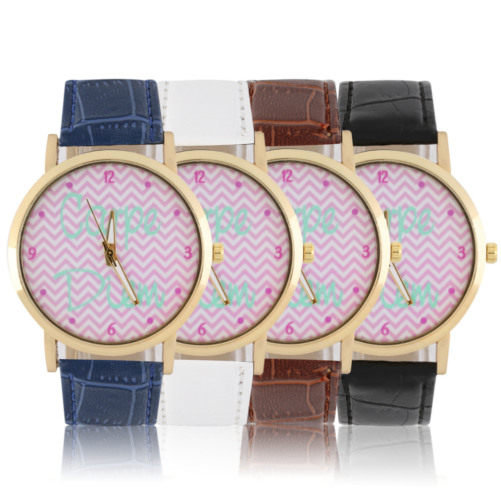 Round Dial Pink Ripple Pattern Watch Women Lady PU Leather Band Quartz Wrist Watch Black/Blue/White/Brown Color Relojes Mujer