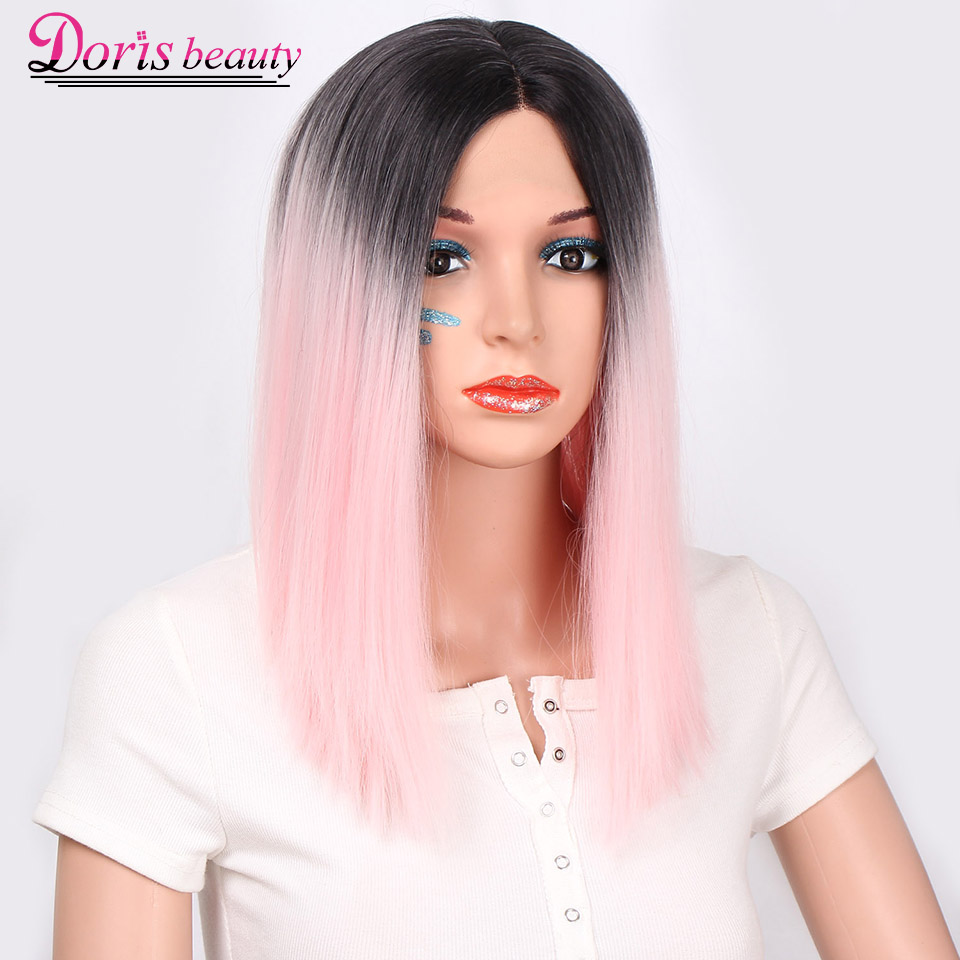 Doris beauty Synthetic Ombre Pink Lace Front Wig for Women Bob Style Short Pink Wig with Middle Part Heat Resistant Fiber