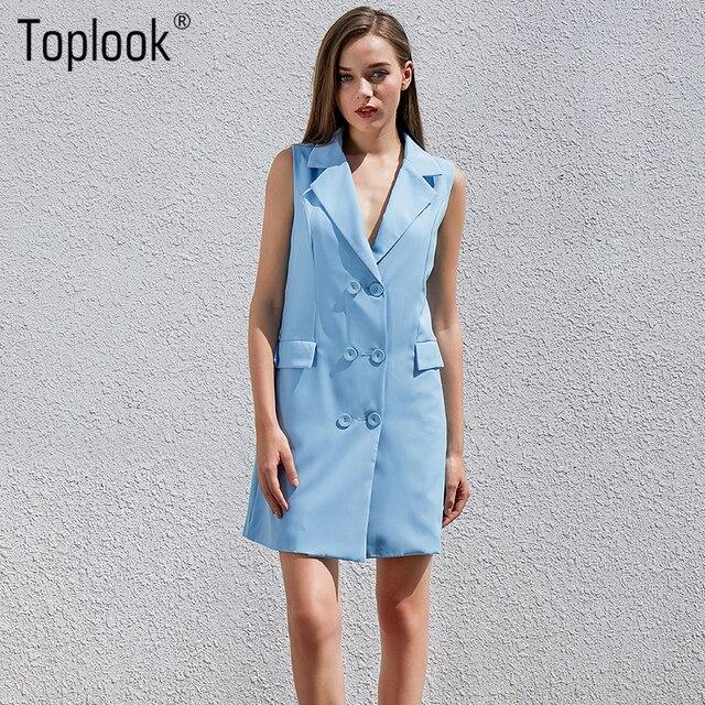 Toplook зубчатый платье-рубашка синее с открытыми плечами летние элегантные офисные короткие Платья для женщин Для женщин двубортный халат взлетно-посадочной полосы Платье 2017 года