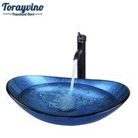 Torayvino الفنان الحمام جولة الأزرق الزجاج البيضاوي حوض غسيل orb نحى صنبور كروم المنبثقة بالوعة الصرف كومبو مجموعة