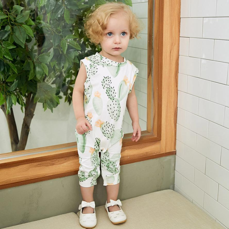 3M-18M Toddler Infant Baby Boys Girls Cactus Print Sleeveless Romper Summer Sleeveless Clothes Jumpsuit Outfits Clothing puseky 2017 infant romper baby boys girls jumpsuit newborn bebe clothing hooded toddler baby clothes cute panda romper costumes