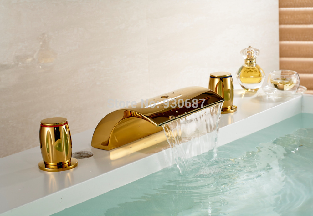 New Gold polish Bathroom Dual Handles Faucet Deck mount Tub Mixer Tap european gold polish