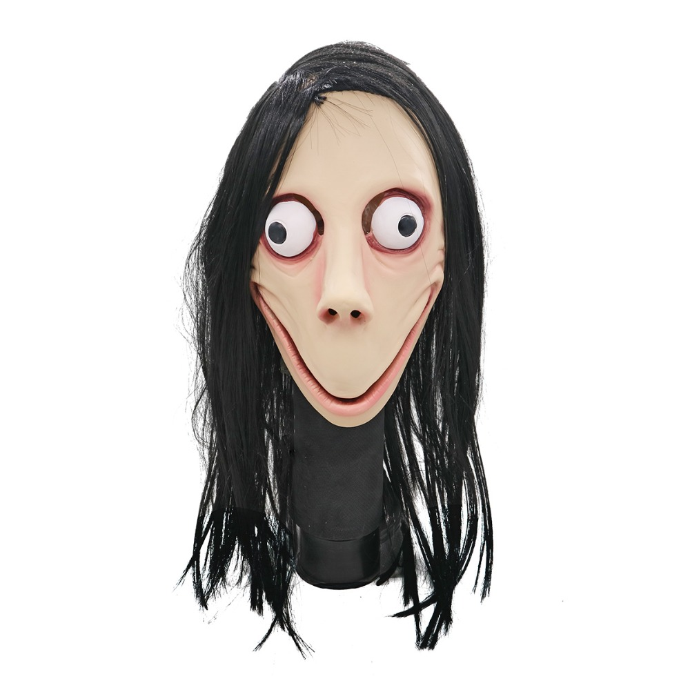 Halloween Hot  Scary Momo Hacking Game Latex Mask Full Head Momo Mask with Wigs cosplay prop