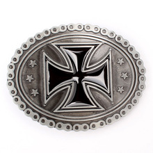 Oval Sliver Plated Cross Men Belt Buckle Suitable for 4cm Width Belt Jean Accessories
