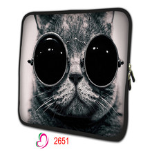 """glass cat Tablet PC Bag For 10""""13""""15""""17"""" inch neoprene Notebook protective Netbook sleeve Painted Laptop Cover NS-26511"""