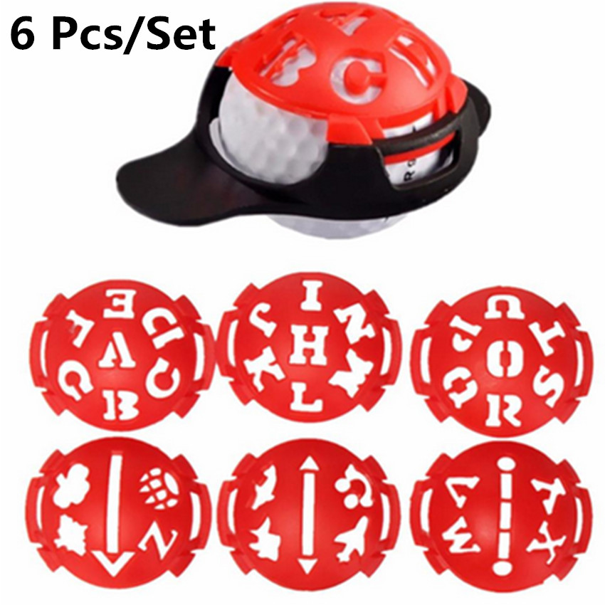 Golf Line Tool Marker 6 Pcs Putting Alignment Drawing Tools Ball Line Marking Sign Tool Red Color Driving Range Plastic Template