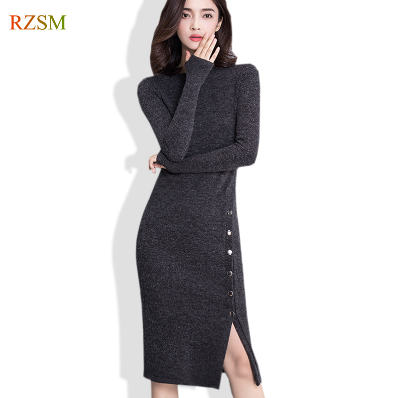 Fashion Long Sleeve Slash Neck Sexy Club Women Dress Slim Stretch Knitted Sweater Knee-Length Slits Party Night Dresses S-3XL long sleeve bodycon dress with slits