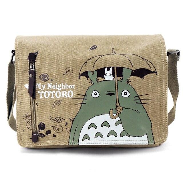 Fashion Tas Crossbody Tas Pria Utusan Kanvas Tas Bahu Totoro Kartun Anime Neighbor Laki-laki Surat Sekolah Tote Handbag