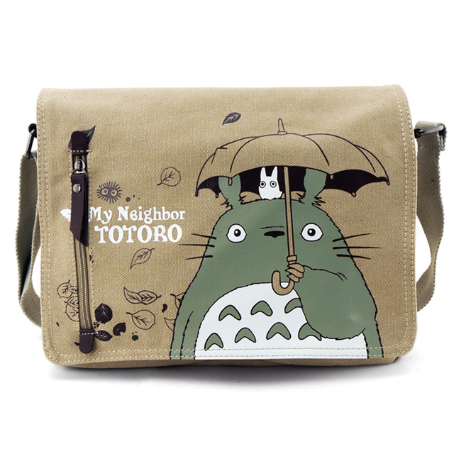 Fashion Totoro Crossbody Bag Women Messenger Bags Canvas Shoulder Bag Cartoon Anime Neighbor School Letter Tote Handbag