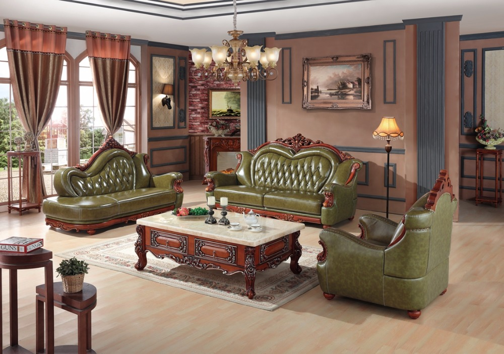 Delightful Luxury European Leather Sofa Set Living Room Sofa China Wooden Frame  Sectional Sofa Green 1+