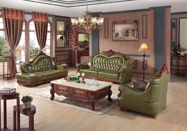 Luxus Europischen Ledercouchgarnitur Wohnzimmer Sofa China Holzrahmen Sofagarnitur Grn 1 4 Chaise
