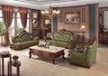 Sistema del sofá de cuero sofá de la sala Europeo de lujo de China marco de madera sofá seccional verde 1 + 4 + chaise