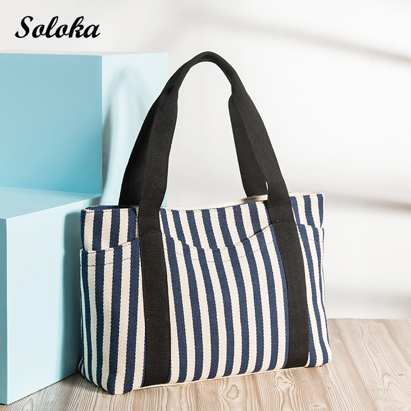 Casual Shopping Bag Large Capacity Tote Women Handbags Foldable Stripes Pattern Ladies Shoulder Beach Bags Canvas Tote Bag forudesigns casual women handbags peacock feather printed shopping bag large capacity ladies handbags vintage bolsa feminina