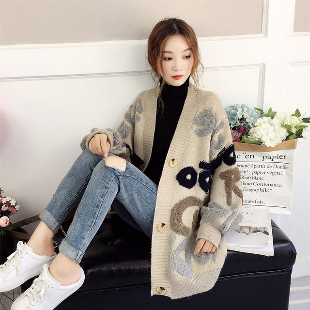 VANGULL Women Letter Print Knit Sweater 2019 Spring  Autumn New Korean Long Sleeve Single Breasted Thick Loose Cardigans