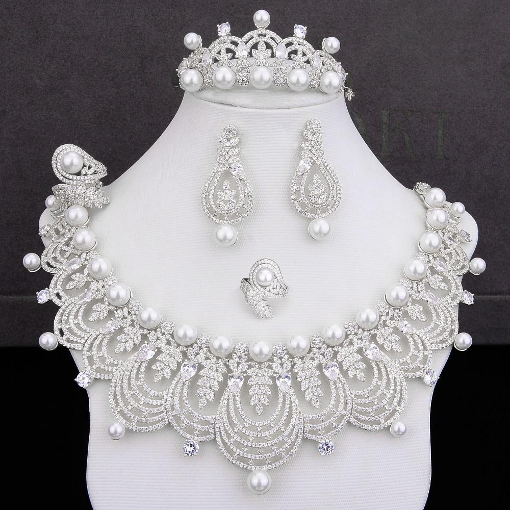 GODKI luksusowe imitacją perły 4 sztuk DUBAI zestawy biżuterii dla kobiet ślub Cubic cyrkon kryształ CZ Indian afryki zestaw biżuterii ślubnej w Zestawy biżuterii od Biżuteria i akcesoria na  Grupa 3