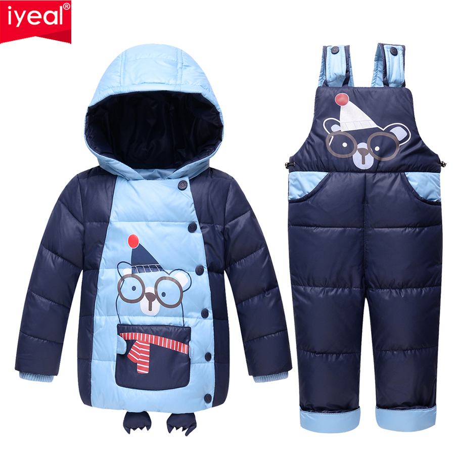 IYEAL Children Baby Girls Boys 90% Warm Duck Down Clothing Set Kids Winter Jacket Jumpsuit Toddler Outerwear Coat Baby Clothes дрель шуруповерт black decker epc12cab