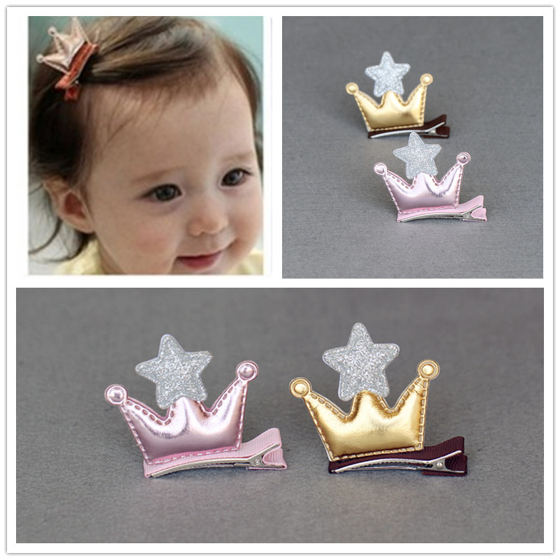 New Cute Double Sided PU Star Crown Girls Hair Accessories Baby Hairpins Princess Barrette kids Hair Clips Children Headwear 10pcs snow white sofia hrief princess anna elsa hair accessories cute kids bb hair clips flower crown rim hair bows 5