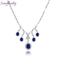 LOVERJEWELRY Роскошные дизайн натуральный Овальный Ожерелье из танзанита одноцветное 18Kt белого золота блестящие алмаз для женщин Свадебные Элег