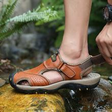 Men Shoes Leather Sandals Summer Beach Breathable Sandalias Hombre Verano Hook & Loop Outdoor Shoes Mans Footwear Rubber Slipper