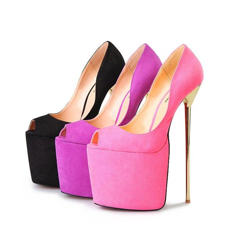 22 40 Mujer Cm rosado De 50 Crossdresser Metal Hsm Zapatos Plus Alto Fashion lavanda 49 Show Plataforma Negro Tacón ZY6w5fqF