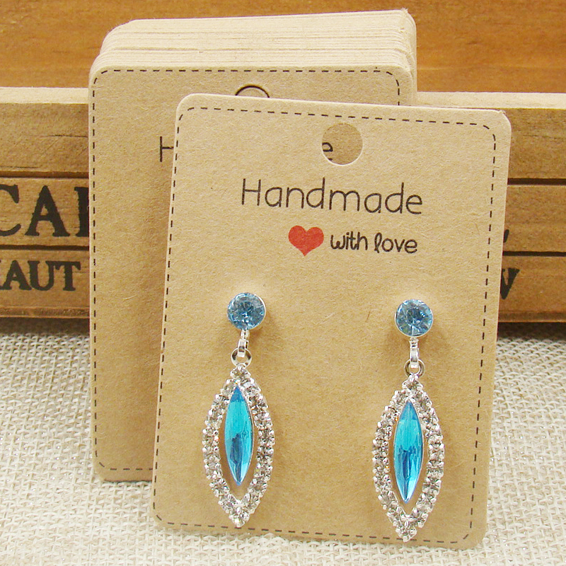 Free Shipping White Jewelry Display Necklace Earring Holder Card Set Printed Hand Made With Love Kraft Ng Tag In Packaging