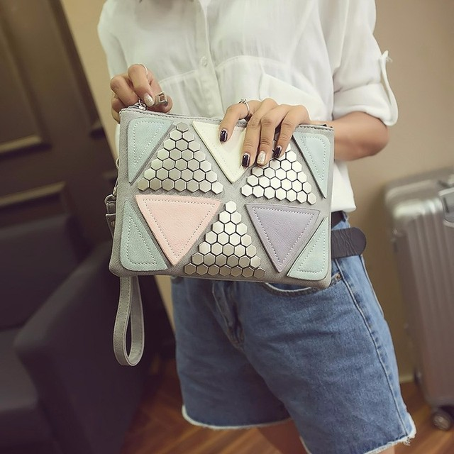 Rivet Envelope Sequined Patchwork Wallet – Luxury Designer Handbag For Women