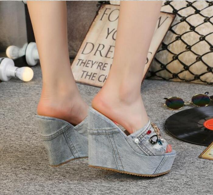 Hot Rome Blue Denim Water Wash String Bead Crystal Women 39 s Sandals Slippers Wedges Pumps Peep Toe Cowboy Shoes High Heels in Slippers from Shoes