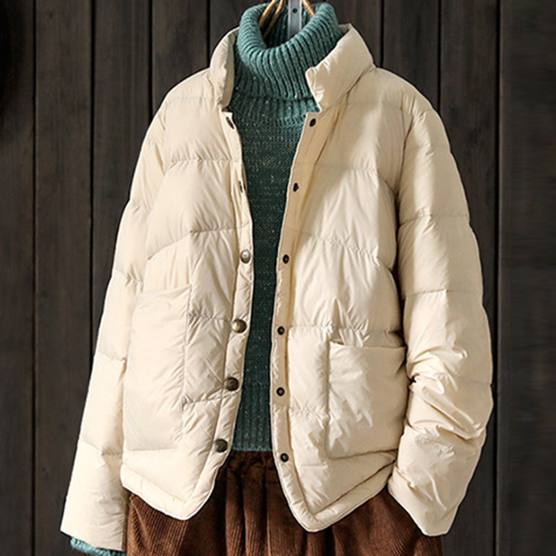 Vintage Women Light Thin   Down   Jackets 90% White Duck   Down     Coats   Autumn Winter Female Loose Casual   Down   Jacket YP2061