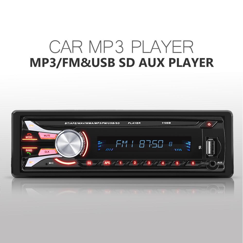 Prix pour Nouveau FM De Voiture Radio 12 V Bluetooth V2.0 Panneau Avant Amovible Auto Audio Stéréo SD MP3 Lecteur AUX USB Mains Libres Appel 1188B radios